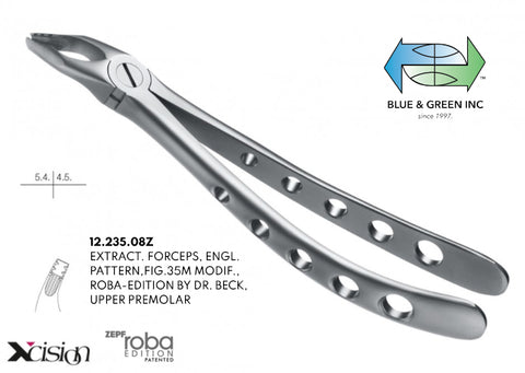 Roba Extraction Forceps, Upper Premolars (12.235.08Z) - Blue & Green Inc.
