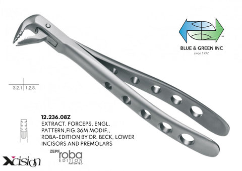 Roba Extraction Forceps, Lower Incisors, Canines and Premolars (12.236.08Z) - Blue & Green Inc.