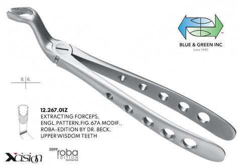 Roba Extraction Forceps, Upper Wisdom Teeth (12.267.01Z) - Blue & Green Inc.