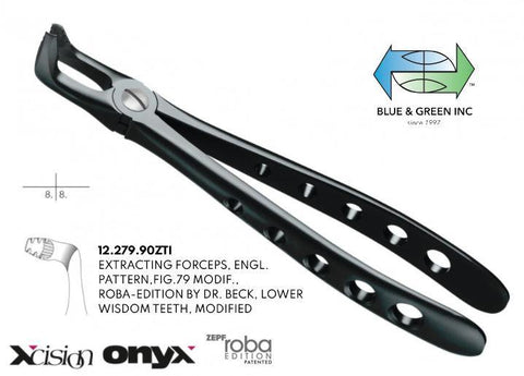 Onyx Roba Forceps, Lower Wisdom Teeth, Modified (12.279.90ZTI)  - Blue & Green Inc.