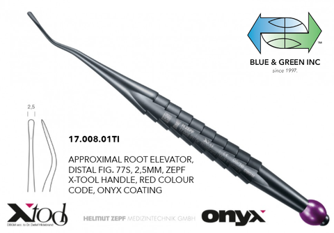 Onyx - X Tools Root Elevator Distal (17.008.01TI) Elevator - Blue & Green Inc.