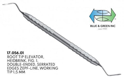 Heidbrink Root Elevator, Double Ended, Serrated 1.5mm (17.056.01) Elevator - Blue & Green Inc.