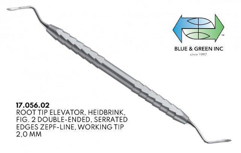 Heidbrink Root Elevator, Double Ended, Serrated 2mm (17.056.02) Elevator - Blue & Green Inc.
