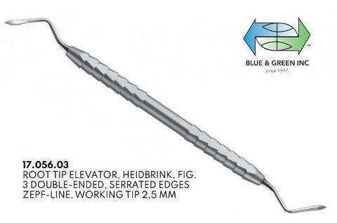 Heidbrink Root Elevator, Double Ended, Serrated 2.5mm (17.056.03) Elevator - Blue & Green Inc.