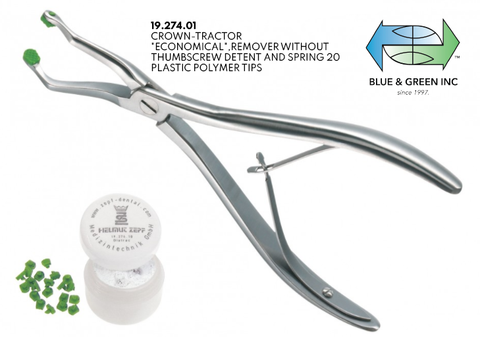 Crown-Tractor Extraction Pliers Set, without thumbscrew detent (19.274.01) Crown pliers - Blue & Green Inc.
