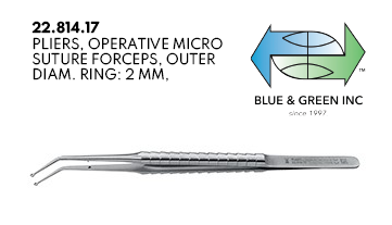 Micro Suture Forceps 18cm, 2mm (22.814.17) Suture Forceps - Blue & Green Inc.