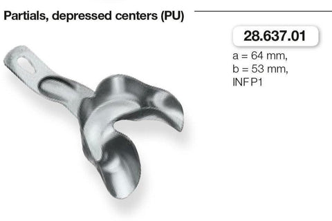 Anatomic Ehricke, Partials/Depressed Centers, Lower Jaw (28.637.01-03) Impression Tray - Blue & Green Inc.