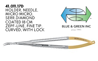 Micro Needle Holder, Serrated,Diamond Coated, Curved with Lock (41.011.17D) Needle Holder - Blue & Green Inc.