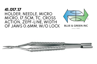 Double-Action Micro Needle Holder (41.017.17) Needle Holder - Blue & Green Inc.