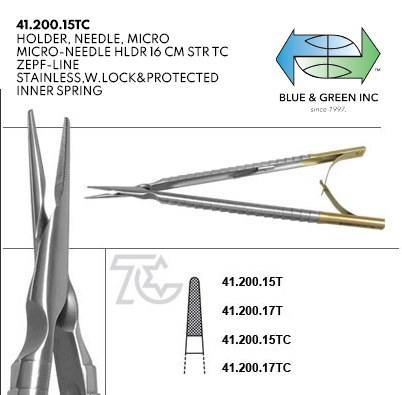 Micro Needle Holder w/ Lock, Straight or Curved (41.200.15TC , 41.201.15TC , 41.200.17TC , 41.201.17TC) Needle Holder - Blue & Green Inc.
