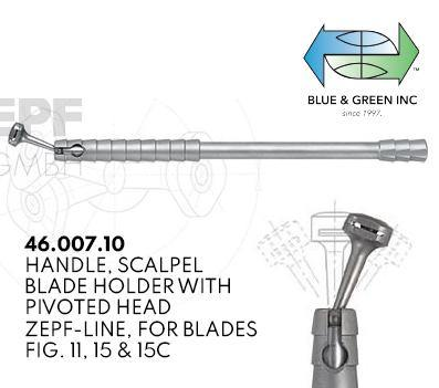 Handle, Scalpel Blade Holder with Pivoted Head (46.007.10) Handle - Blue & Green Inc.
