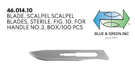Scalpel Blades, For handle no.3 (46.014.10) blade - Blue & Green Inc.