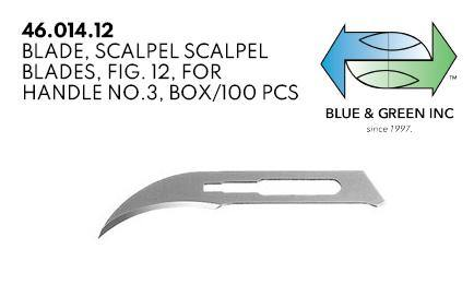 Blade Scalpel, for handle no.3, box 100pcs (46.014.12)  - Blue & Green Inc.