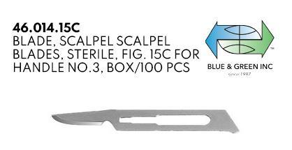 Scalpel Blades, for Handle no.3, box of 100pcs (46.014.15C) blade - Blue & Green Inc.