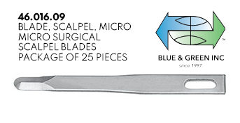 Micro Surgical Scalpel Blade, 25 pieces(46.016.09) Scalpel Insert - Blue & Green Inc.