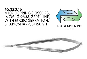 Micro Spring Scissors, 16cm, Micro serration, Straight (46.320.16) Scissors - Blue & Green Inc.