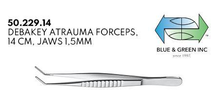 DeBakey Atraumatic Forceps, 14cm, jaws 1.5mm (50.229.14) Forceps - Blue & Green Inc.