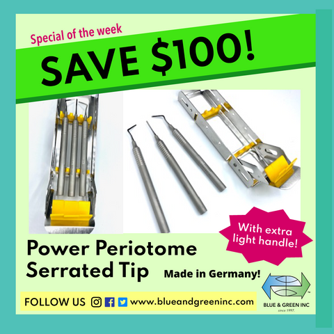 Power Periotome Serrated Single End (PKS 1) Periotome set - Blue & Green Inc.