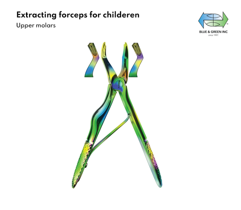 Pediatric Extracting forceps for children, Upper molars with spring (Z 352-03) Forceps - Blue & Green Inc.