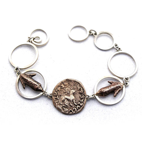 sterling and bronze link bracelet