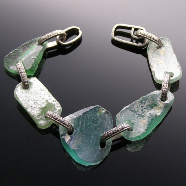 link bracelet aqua colored roman glass