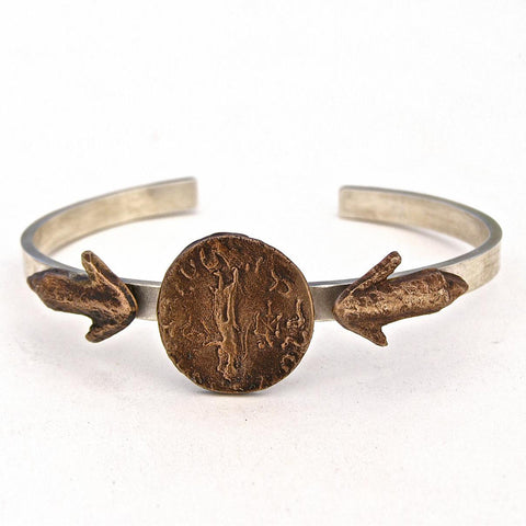 coin and arrow tip silver cuff/band