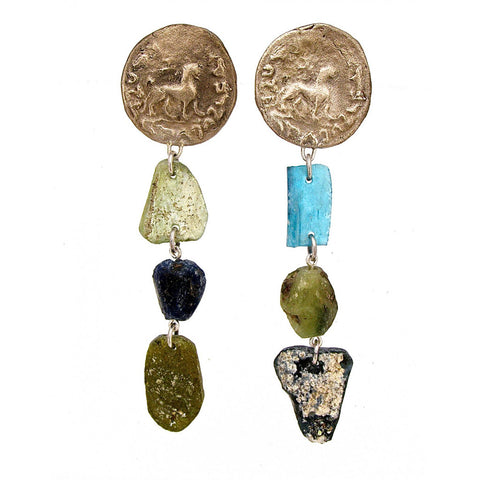 earrings with kharoshti coins