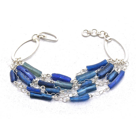 blue roman glass link bracelet