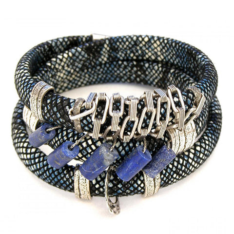 Leather and More b Blue Snake Print Leather