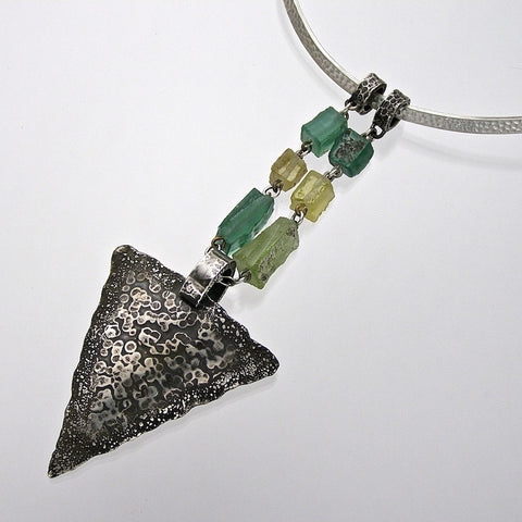 aqua bactrian arrow head necklace
