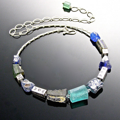 blue roman glass chain