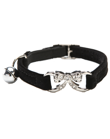 Black velvet collar with infinity diamante bow