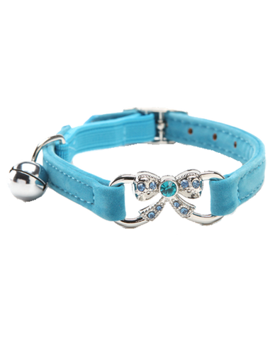 Blue velvet dog cat & dog collar