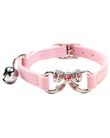 Pink velvet dog & cat collar