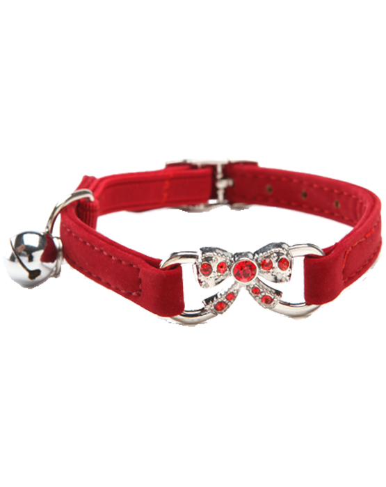 Red velvet dog & cat collar