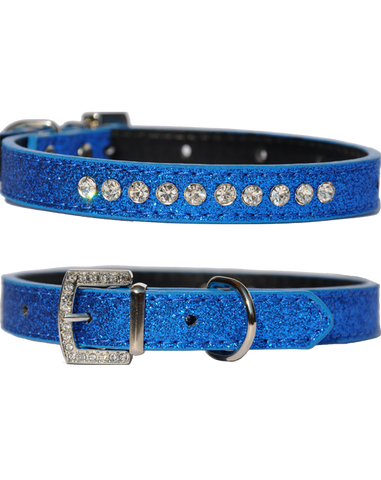 Candy finish blueberry coloured dog collar with rhinestone studs and a rhinestone buckle
