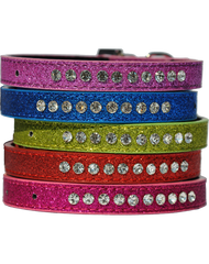Candy finish cerise coloured dog collar with rhinestone studs and a rhinestone buckle