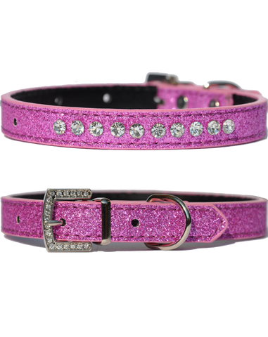 Candy finish grape coloured dog collar with rhinestone studs and a rhinestone buckle