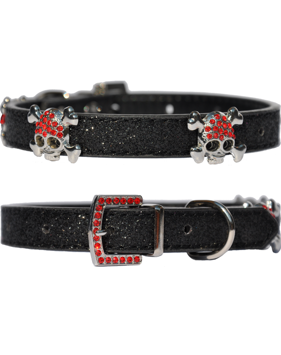 Candy finish black dog collar with buccaneer style skull and bone faux ruby clad studs and faux ruby buckle