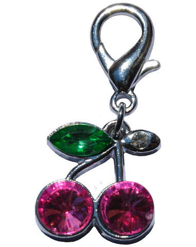 Cherry Rhinestone Charm in pink and touch of green