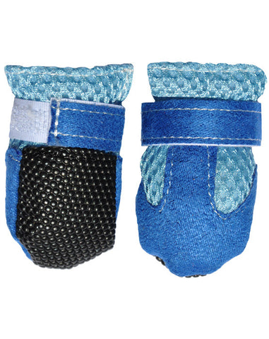 Blue vented dog shoes - Pack of 4