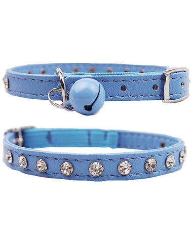 Blue diamante cat & dog collar with bell and safety elastic