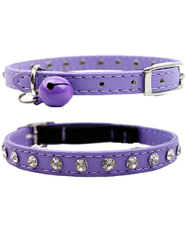 Purple diamante cat & dog collar with bell and safety elastic