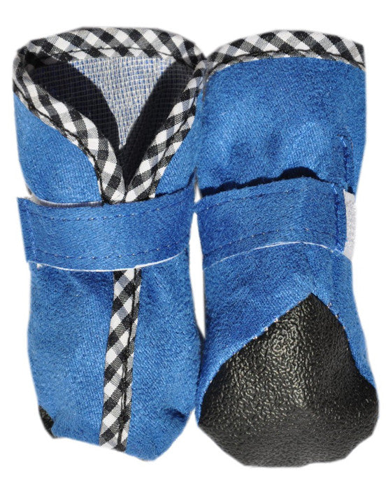 Blue dog shoes with velcro fastening