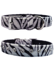 Zebra print dog collar with diamantes