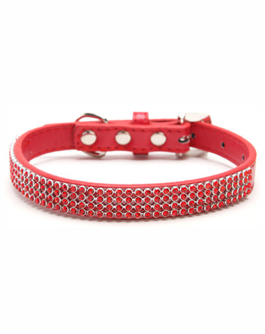 Red dog collar with rows of red diamantes and a rhinestone buckle