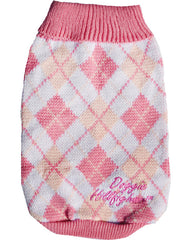 Pink & white Golf type dog jersey with Doggie Hillfigher embroided in Pink