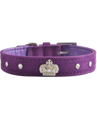 Velvet dog collar ~ Purple with diamantes