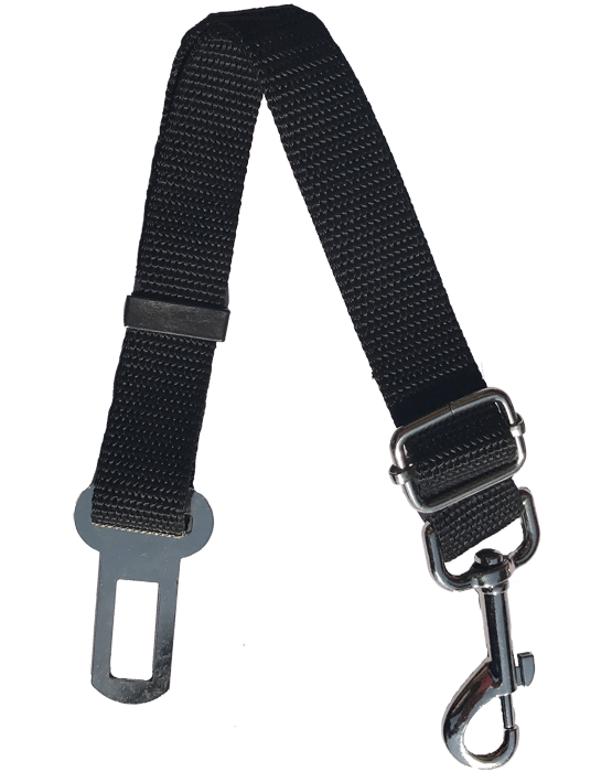 Black nylon seat belt clip for dogs