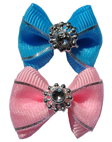 Dog hair bow with silver lining and jewel detail